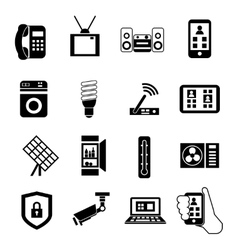 Smart Home Black Icon Set vector image