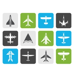 Flat different types of plane icons vector image