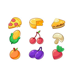 Food items outlined childish stickers set for vector