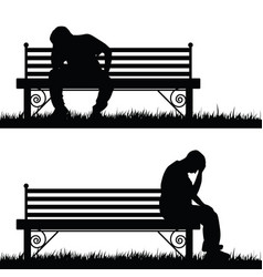 man silhouette sitting and thinking in park vector image vector image