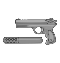 Pistol with a silencer icon monochrome style vector image vector image