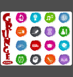school icon set in grunge style vector image vector image