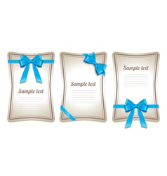 Set of card note with gift bows vector image vector image