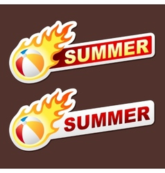 Summer flame sticker banner label tag vector image vector image