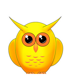 yellow owl on a white background vector image