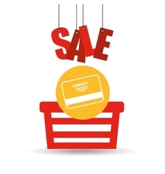 basket shopping sale credit card graphic vector image vector image