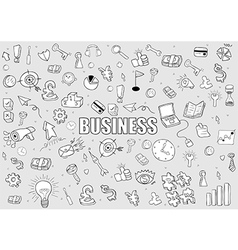 Business doodles objects background drawing vector image vector image