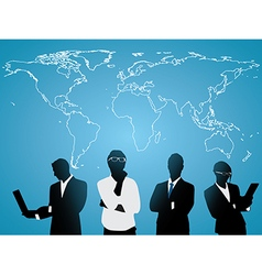 Business people world map vector image