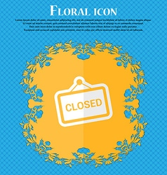 close Floral flat design on a blue abstract vector image