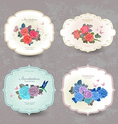 collection vintage cards with blue roses for your vector image vector image
