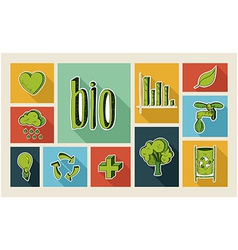 Ecology sketch style flat icon set vector image