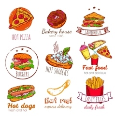 Fast Food Badges Set vector image vector image