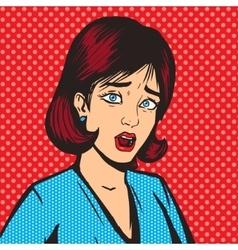 Girl scream pop art style vector image