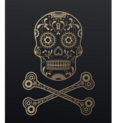 sugar skull day of the dead golden with crossed vector image