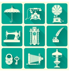 Vintage objects icons vector