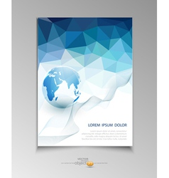 brochure for business with blue triangles vector image vector image