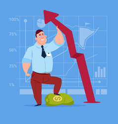 business man hold red arrow up financial success vector image vector image