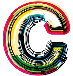 Colorful Grunge font LETTER C vector image vector image