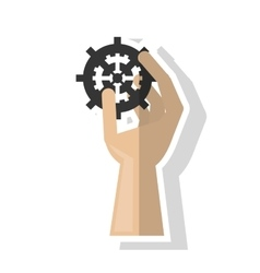 Isolated hand holding gear design vector image vector image