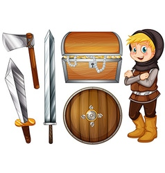 Knight with weapons and treasure vector image vector image