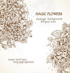 Magic flowers vintage background vector image