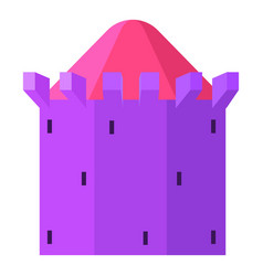 purple tower with blue roof icon cartoon style vector image