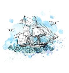 Sailing vessel and blue watercolor blots vector