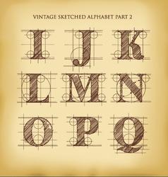 Vintage sketched alphabet set 2 vector image vector image