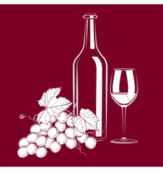 vintage still life with wine and grapes vector image vector image