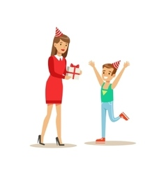 Woman Giving Boy A Present Kids Birthday Party vector image vector image