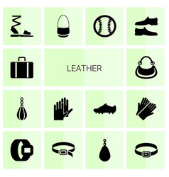 14 leather icons vector