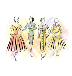 1950s fashion for women vector image