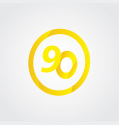 90 anniversary celebration circle yellow number vector