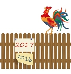 A fence made of wood Rooster on the fence vector image