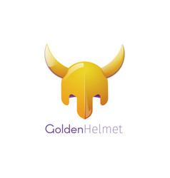 a golden helmet with horns vector image