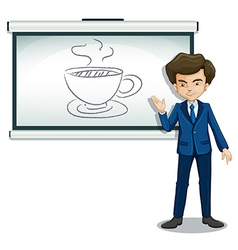 A man explaining the picture in the bulletin board vector image vector image