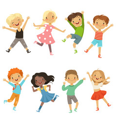 Active kids in different action poses vector