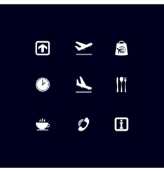 Airport white icons vector image