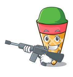 Army ice cream tone character cartoon vector
