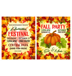 Autumn harvest festival poster of thanksgiving day vector