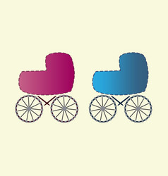 Baby carriages for boys and girls icons vector