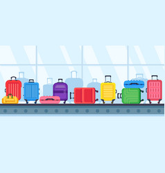 baggage belt conveyor travel suitcases on airport vector image