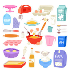 Bakery ingredients food and kitchenware for vector