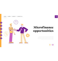 Banking loan deal landing page template man vector