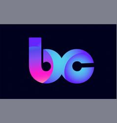 Bc b c spink blue gradient alphabet letter vector