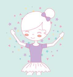 Beautiful ballerina ballet cartoon character vector
