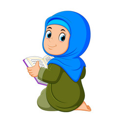 Beautiful girl is holding al quran vector