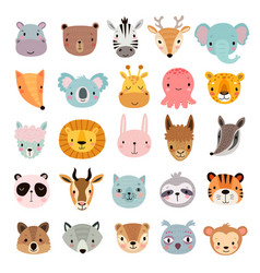 Big animal set cute faces hand drawn characters vector