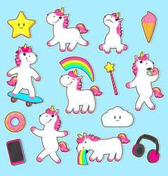 big set of rainbow unicorn character stickers vector image