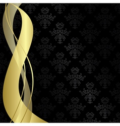 Black vintage background with gold ribbons vector